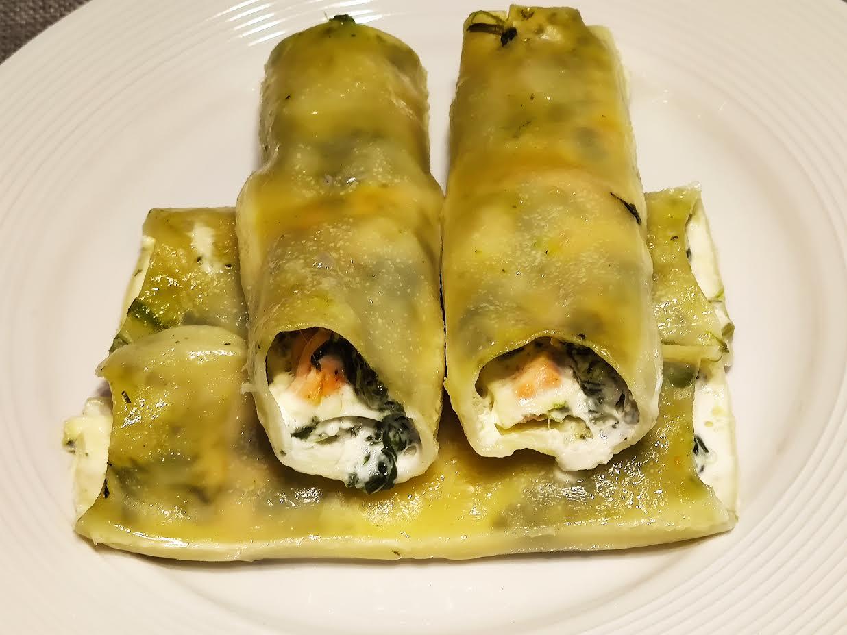 photo de Cannellonis au saumon et aux épinards
