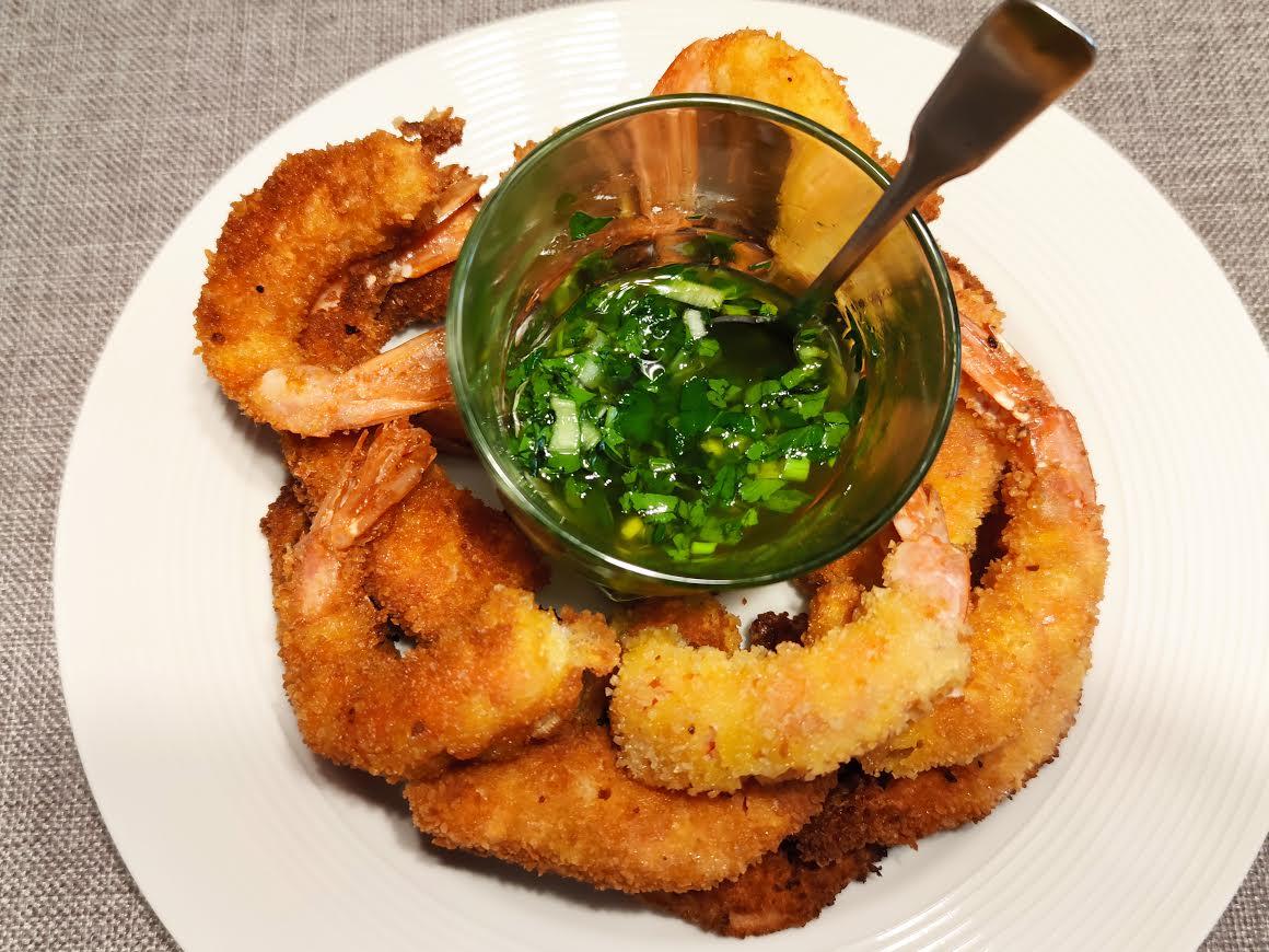 photo de Sauce chimichurri et ses crevettes panées