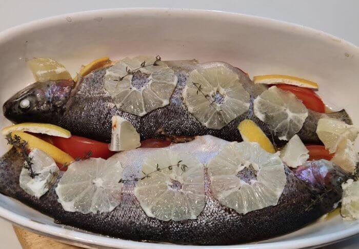 Truites saumonées au four